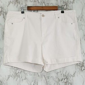 Gibson Latimer White Denim Cuffed Jean Shorts 16